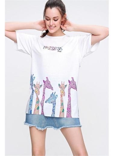 Pink Park Baskılı Bisiklet Yaka T-shirt Beyaz
